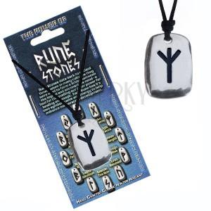 Šnúrkový náhrdelník - kovový prívesok, štítok, runa Algiz