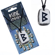 Šperky eshop - Náhrdelník na krk so šnúrkou a kovovým štítkom, runa Berkana AC2.25