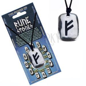 Náhrdelník - čierna šnúrka, lesklá kovová tabuľka s runou Fehu