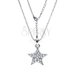 Ródiovaný náhrdelník - lesklé guličky, hviezda s čírymi zirkónmi