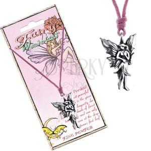 Náhrdelník so šnúrkou a kovovým príveskom kráčajúcej víly