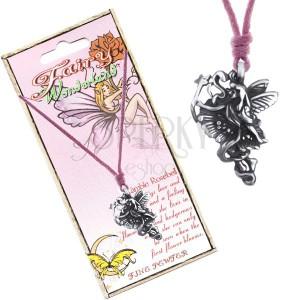 Šnúrka na krk - kovová kvetinová víla so stuhou a paličkou