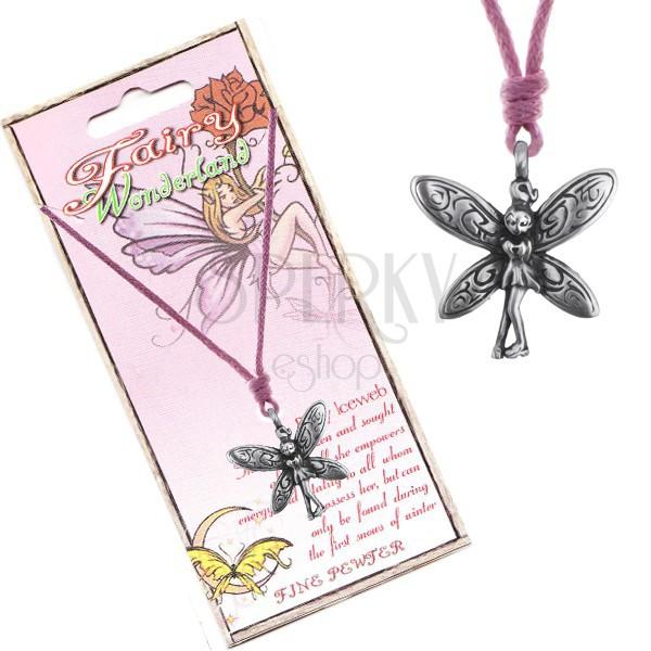 Šnúrka na krk - kovová hanblivá víla so zdobenými krídlami