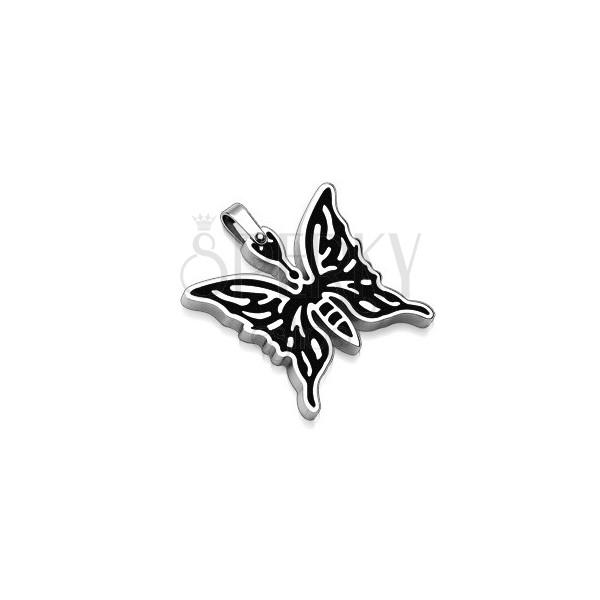 Prívesok z chirurgickej ocele - motýľ s čiernou kresbou