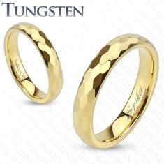 Wolfrámový prsteň - zlatá obrúčka s brúsením do šesťhranov