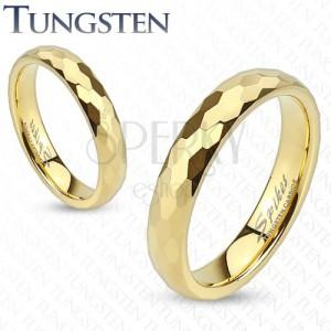 Wolfrámový prsteň - obrúčka zlatej farby s brúsením do šesťhranov