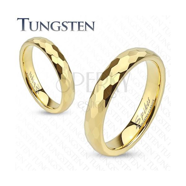 Wolfrámový prsteň - obrúčka zlatej farby s brúsením do šesťhranov ... f2229342405