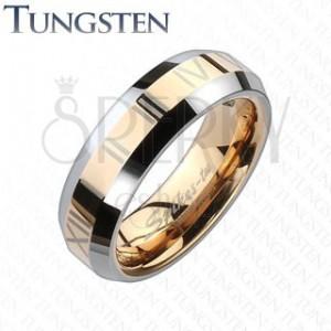 Tungstenová obrúčka - zlatoružový pás s rímskymi číslami
