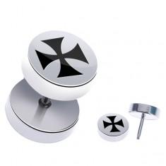 Šperky eshop - Okrúhly plug do ucha z chirurgickej ocele - maltézsky kríž PC31.12