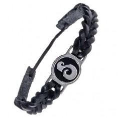 Šperky eshop - Pletenec na ruku z kože - čierny, okrúhla známka, esovitý ornament AC3.02