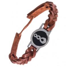 Šperky eshop - Pletený kožený remienok na ruku - karamelovo hnedý, Pikorua AC3.03