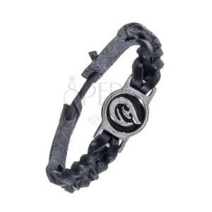 Pletený čierny náramok - kožený, tribal ornament