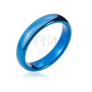 Wolfrámová obrúčka s oblými hranami, tmavo modrá, 4 mm