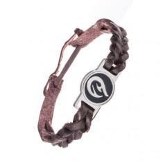 Šperky eshop - Pletený kožený remienok na ruku - tmavohnedý, tribal ornament AC3.05