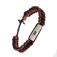 Šperky eshop - Náramok na ruku s ozdobnou korálkou - pletený, kožený AC4.03