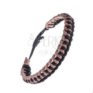 Pletený béžovo-čierny náramok na ruku z kože