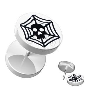 Akrylový falošný piercing do ucha - biely, lebka, pavučina
