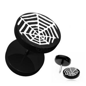 Čierny okrúhly fake plug do ucha - akrylový, pavúčia sieť