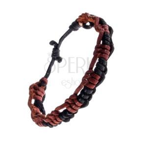 Náramok na ruku z kože - zapletané karamelovo-čierne prúžky