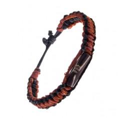 Šperky eshop - Kožený náramok na ruku - pletený, čierny okraj, hnedý ozdobný valček AC4.03