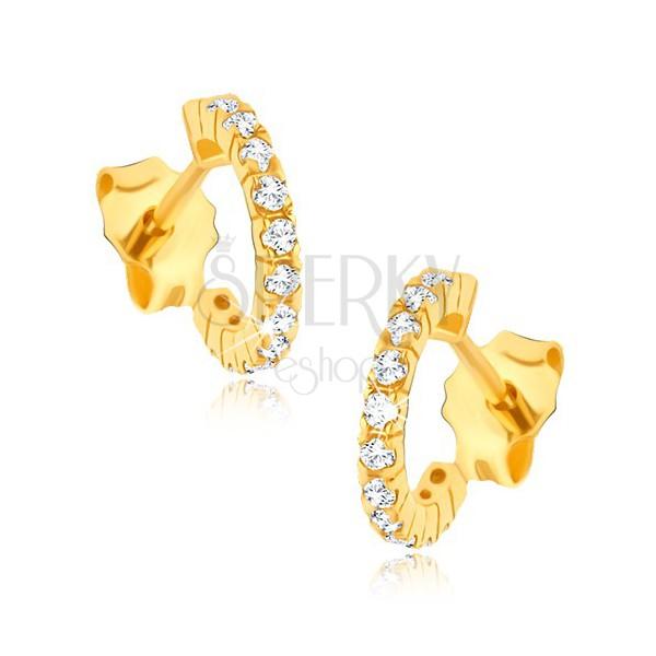 Zlaté náušnice 585 - napichovacie zirkónové polkruhy