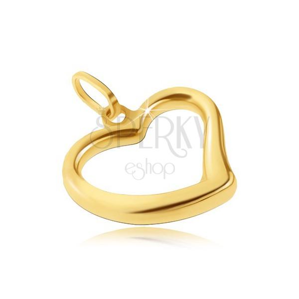 Zlatý prívesok 585 - lesklé srdiečko s nepravidelnou líniou