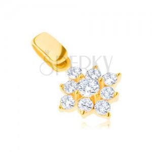 Zlatý prívesok 14K - trblietavá zirkónová vločka