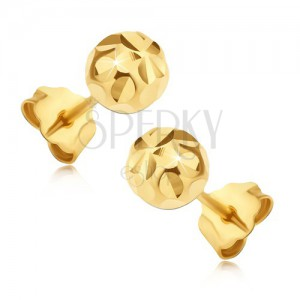 Zlaté 14K puzetové náušnice - guľôčky s lúčovitým kvetom