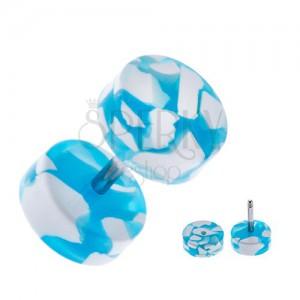 Falošný plug do ucha - akryl, bielo-modré kolieska, trieštivý dizajn