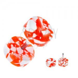Akrylový fake plug do ucha - bielo-oranžové kolieska