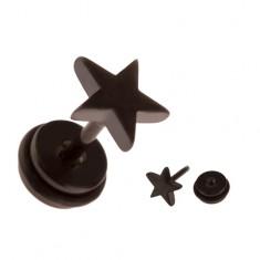 Šperky eshop - Falošný piercing do ucha z ocele - čierna hviezda PC35.30