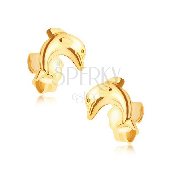 Zlaté puzetové náušnice 14K - skákajúci delfín