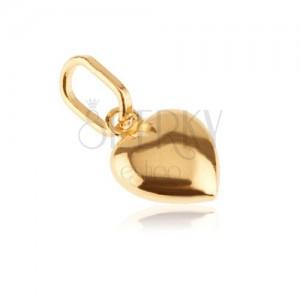 Zlatý prívesok 585 - 3D srdiečko s lesklým povrchom a zárezom