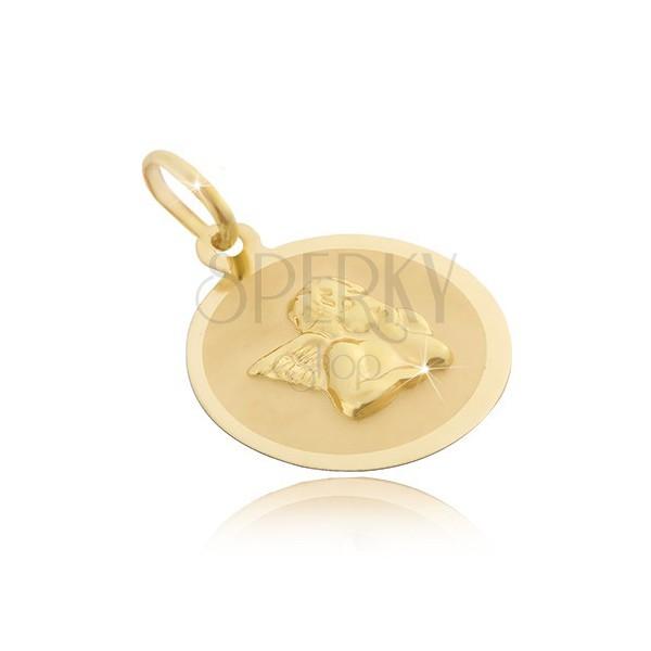 Zlatý 14 karátový okrúhly prívesok - matný povrch s 3D anjelom