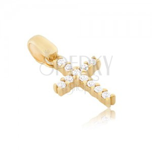 Prívesok zo 14K zlata - malý zirkónový krížik uchytený paličkami