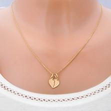 Zlatý dvojprívesok 585 - prelomené lesklé srdce so zahnutým okrajom