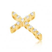 Zlatý 14K prívesok - tenký krížik zo zirkónov a ukryté očko
