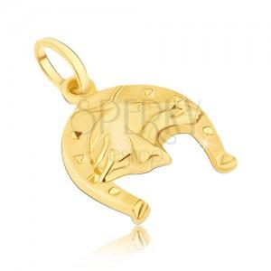 Prívesok zo 14K zlata - podkova so štvorčekmi a s 3D hlavou koňa