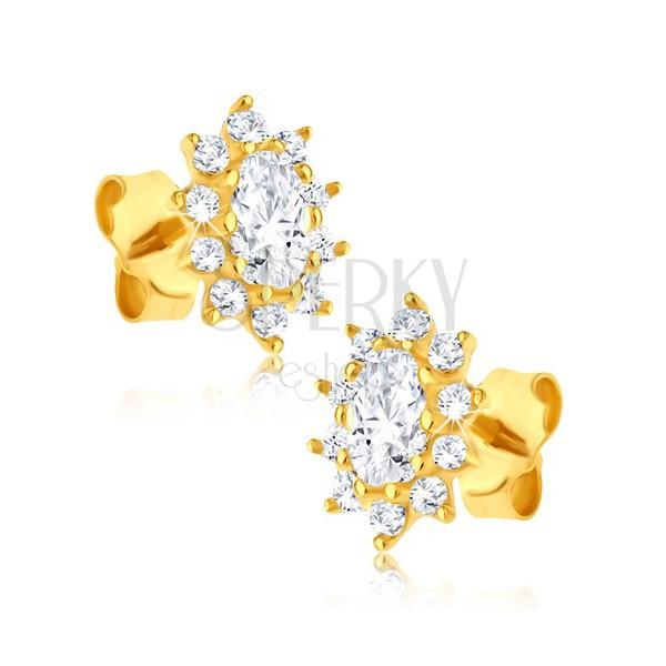 Náušnice zo 14K zlata - oválne trblietavé zirkónové kvety