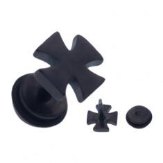 Šperky eshop - Čierny oceľový fake piercing do ucha, lesklý maltézsky kríž W05.01