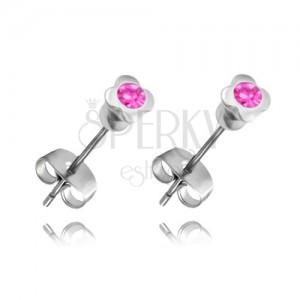 Oceľové náušnice - štvorlístok s ružovým zirkónom