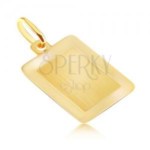 Zlatý 14K prívesok - hladká obdĺžniková známka s lesklým rámom