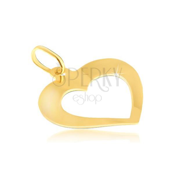 6139ca95c Prívesok zo 14K zlata - zrkadlovolesklé mierne zahnuté srdiečko s výrezom  ...