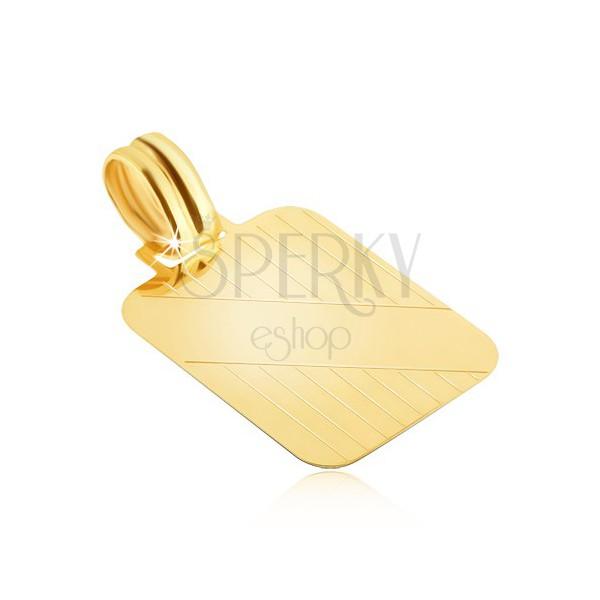 Zlatý prívesok 585 - tabuľka so zvislými zárezmi a šikmým hladkým pásom