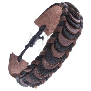 Kožený náramok na ruku so šupinovým motívom - pletený, hnedo-čierny