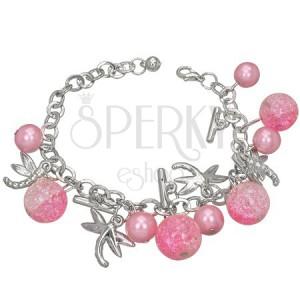 Náramok zo zliatiny kovov - ružový, perla, vážka, kryštálová guľka