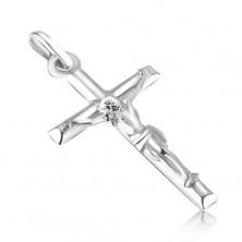 Prívesok z bieleho 14K zlata - hladký latinský kríž s vystúpeným Kristom
