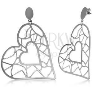 Oceľové visiace náušnice - veľké a malé srdce, vyrezávané