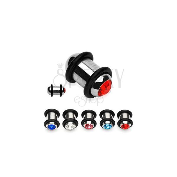Plug do ucha z ocele s farebným zirkónom a dvoma gumičkami