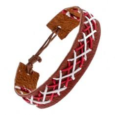 Šperky eshop - Kožený náramok na ruku hnedej farby - prepletené šnúrky dvoch farieb Y52.20